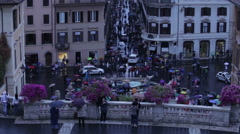 View of Fontana della Barcaccia from balcony Stock Footage