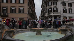 Fontana della Barcaccia Stock Footage