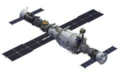 Space Station And Spacecrafts - stock illustration