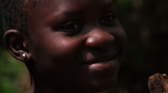 Close up of a girl nodding to someone. Stock Footage