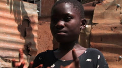 Girl in Ghana communicating with sign language. Stock Footage