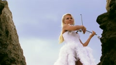 Violinist In A Beautiful White Dress Stock Footage