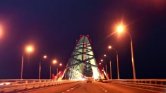 Bridge with red arch at night Stock Footage