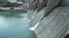 Aerial view of hydroelectric power plant Stock Footage