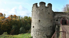 The ancient destroyed fortress. Petersburg. Russia. Koporye Stock Footage