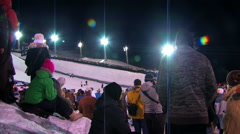 Skiing competition with big crowds. Stock Footage
