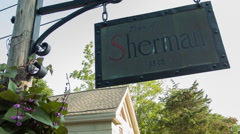Sherman Connecticut town sign in village, American history Stock Footage
