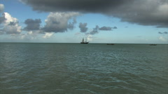 Sail boat in the distance. Stock Footage