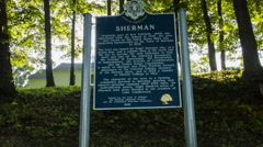 Sherman Connecticut historical town marker sign, New England Stock Footage