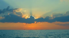 Evening Sun Was Setting Behind The Clouds Stock Footage