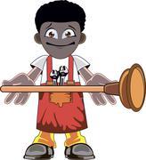 Cartoon Plumber holding Plunger Stock Illustration