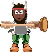 Plumber holding Plunger - stock illustration