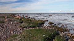 Stony coast of the Gulf of Finland. Near St. Petersburg. Russia. Stock Footage