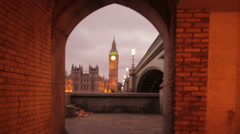 Stock Video Footage of An archway in England that views Big Ben