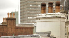 Chimney on top of building in London, England. Stock Footage