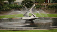 Close up view of Revolving Torsion Fountain Sculpture in London, England. - stock footage