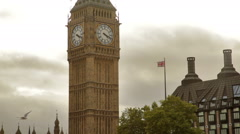 Low angle view of the top part of Big Ben in London, England. - stock footage