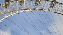 Low angle shot of London eye in London, England. Stock Footage