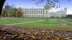 Palace in autumn park, Russia, Gatchina Stock Footage