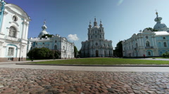View on Smolnyi cathedral (Smolny Convent) St. Petersburg - stock footage