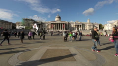 LONDON - OCTOBER 7: National Gallery at Trafalgar Square on October 7, 2011 in Stock Footage