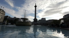 Lord Nelson's monument from a fountain Stock Footage