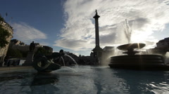 Lord Nelson's monument with fountain foreground Stock Footage