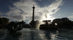 Nelson's monument and Trafalgar Square fountain with amazing light Stock Footage