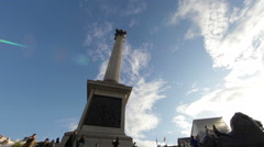 LONDON - OCTOBER 7: Nelson's monument as seen from its foot on October 7, 2011 Stock Footage