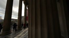By the National Gallery pillars Stock Footage