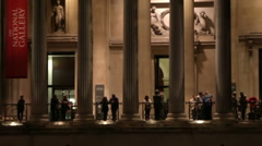 Evening by National Gallery entrance - stock footage