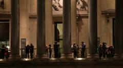 National Gallery entrance in the evening Stock Footage