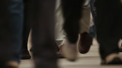 People's feet walking on the London Bridge Stock Footage