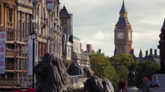Lord Nelson's lions with Big Ben Stock Footage
