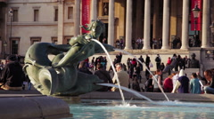 Spitting statue in front of National Gallery Stock Footage