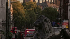 Panning of Nelson's lion and Big Ben Stock Footage