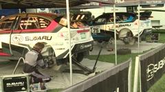 Subaru Rally Team Pits Close Up Stock Footage