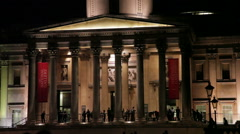 National Gallery entrance in evening light - stock footage