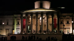 Evening time by National Gallery entrance Stock Footage