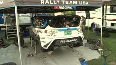 Higgins Rally Car Pits Stock Footage