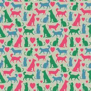 Seamless pattern with cats and dogs - stock illustration