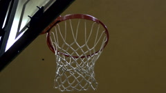 "Slow motion shot of a ""nothing but net"" basketball shot. - stock footage"