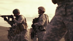 Soldiers practicing live shooting - stock footage
