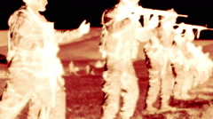 Negative shot of soldiers during firing drill - stock footage