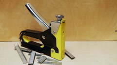 Metal stapler for repair work in the house. Stock Footage