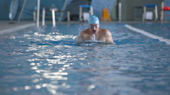 Swimming Training Breast Stroke Stock Footage