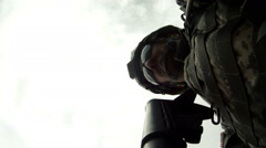 Point of view shot from rifle as it fires Stock Footage