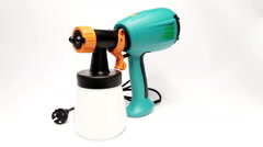 Electrical spray gun for coloration, for color pulverization Stock Footage