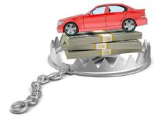 Car with money in bear trap Piirros
