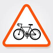 Bicycle triangle forbidden sign plate. - stock illustration